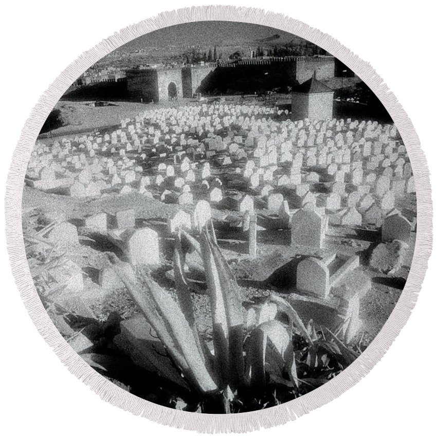Landscape Round Beach Towel featuring the photograph Surreal Cemetery by Shaun Higson