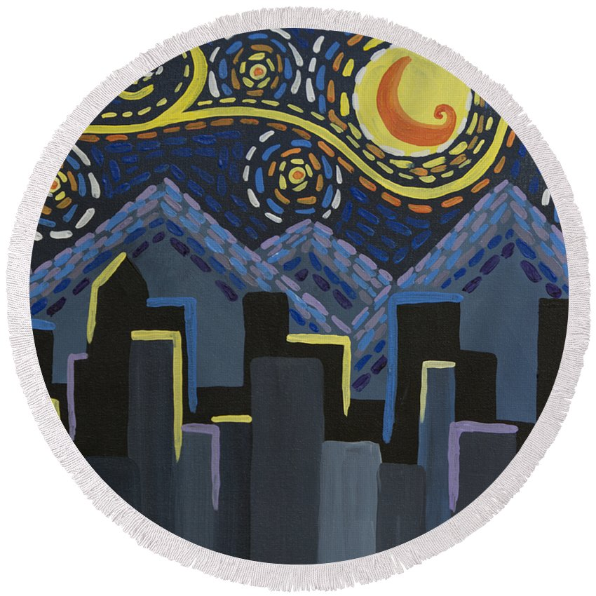 Star Round Beach Towel featuring the painting Starry Night Cityscape by Angelina Vick