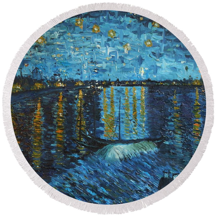 Landscape Round Beach Towel featuring the painting Starry Night Over The Rhone by Stefan Duncan