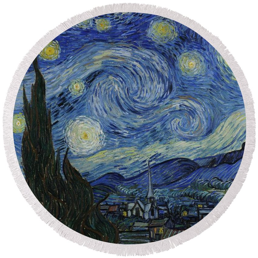Vincent Van Gogh Round Beach Towel featuring the painting Starry Night by Masterpieces Of Art Gallery