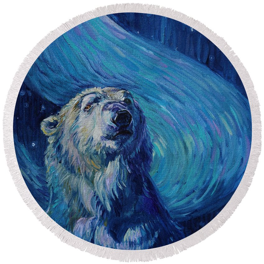 Starry Night Round Beach Towel featuring the painting Starry Night Van Gogh Bear by Christine Montague