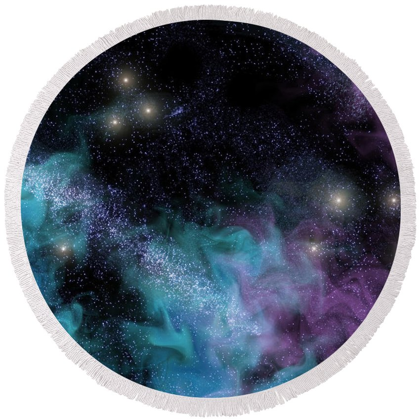 Nebula Round Beach Towel featuring the digital art Starscape Nebula by Antony McAulay