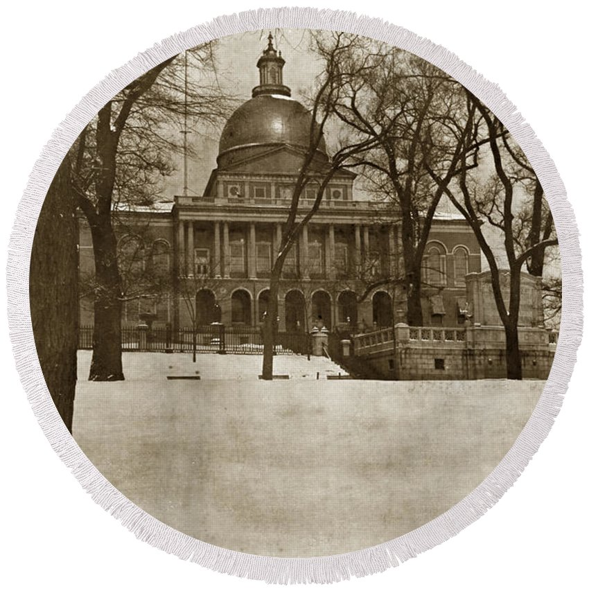 State Building Round Beach Towel featuring the photograph State Building Boston Massachusetts Circa 1900 by California Views Archives Mr Pat Hathaway Archives