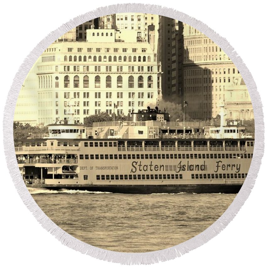 Harbor Round Beach Towel featuring the photograph Staten Island Ferry In Sepia by Rob Hans