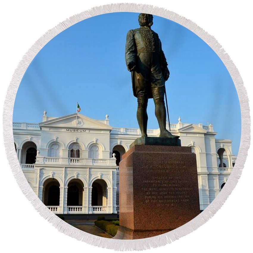 Statue Round Beach Towel featuring the photograph Statue Of Gregory Outside National Museum Colombo Sri Lanka by Imran Ahmed