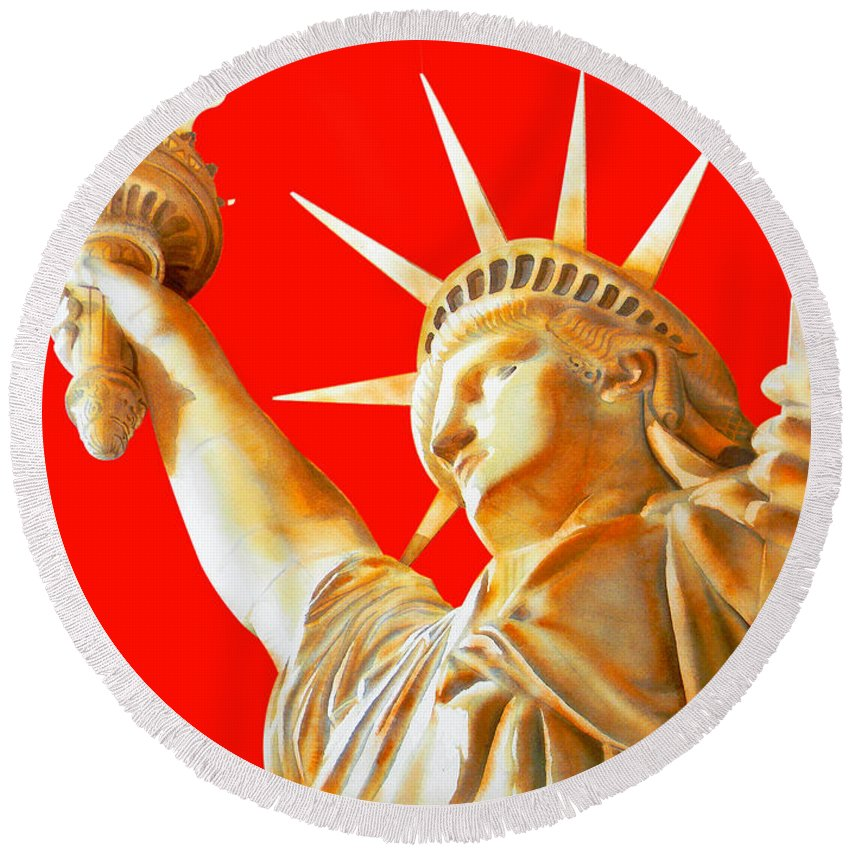 Statue Of Liberty Round Beach Towel featuring the painting S T A T U E . O F . L I B E R T Y . In Red by J - O  N  E