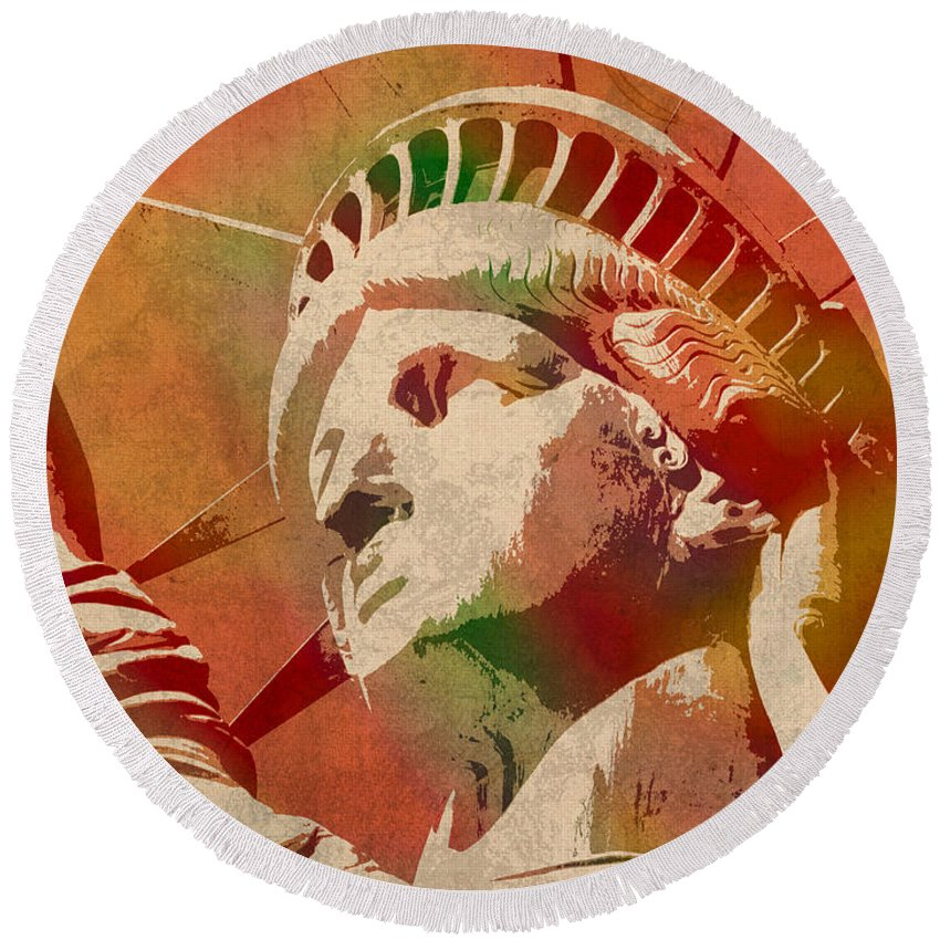 Statue Of Liberty Round Beach Towel featuring the mixed media Statue Of Liberty Watercolor Portrait No 1 by Design Turnpike