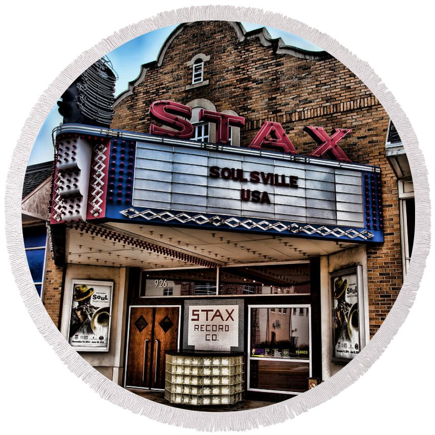 Memphis Round Beach Towel featuring the photograph Stax Records by Stephen Stookey