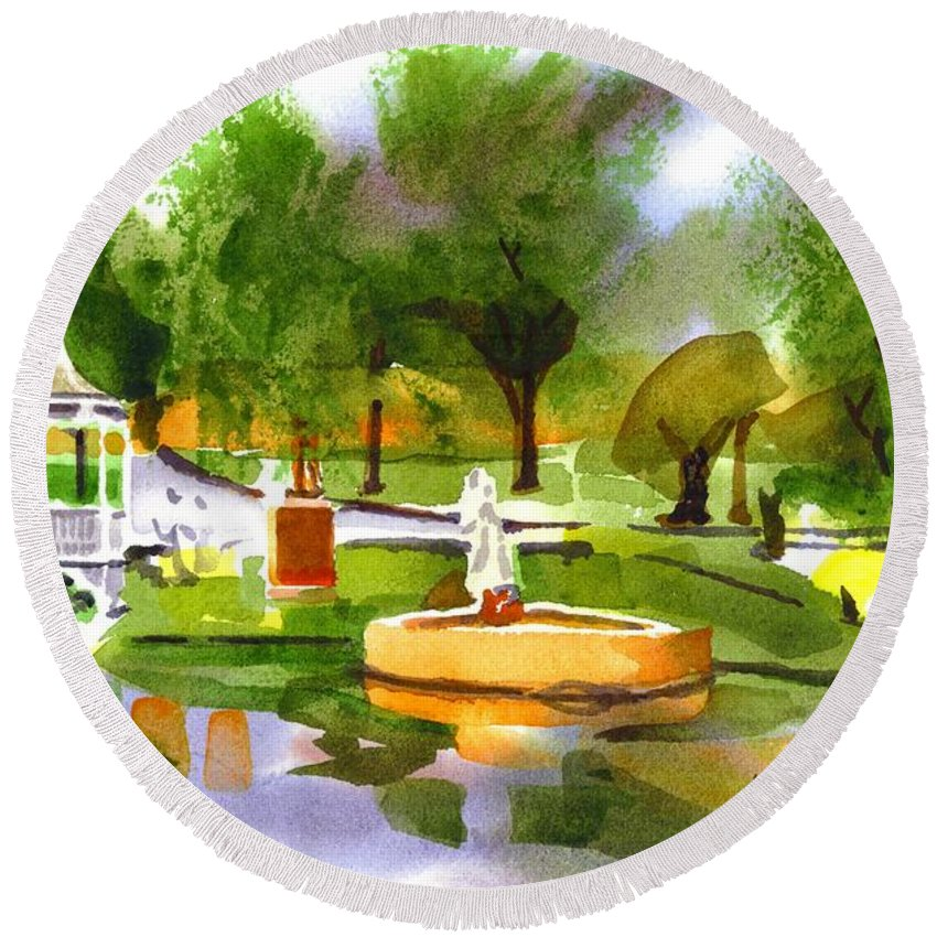 Ste Marie Du Lac In Watercolor Iib Round Beach Towel featuring the painting Ste Marie Du Lac In Watercolor IIb by Kip DeVore