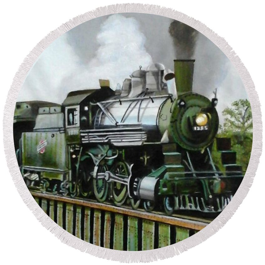 Train Round Beach Towel featuring the painting Steam Engine Locomotive by Janet Guss