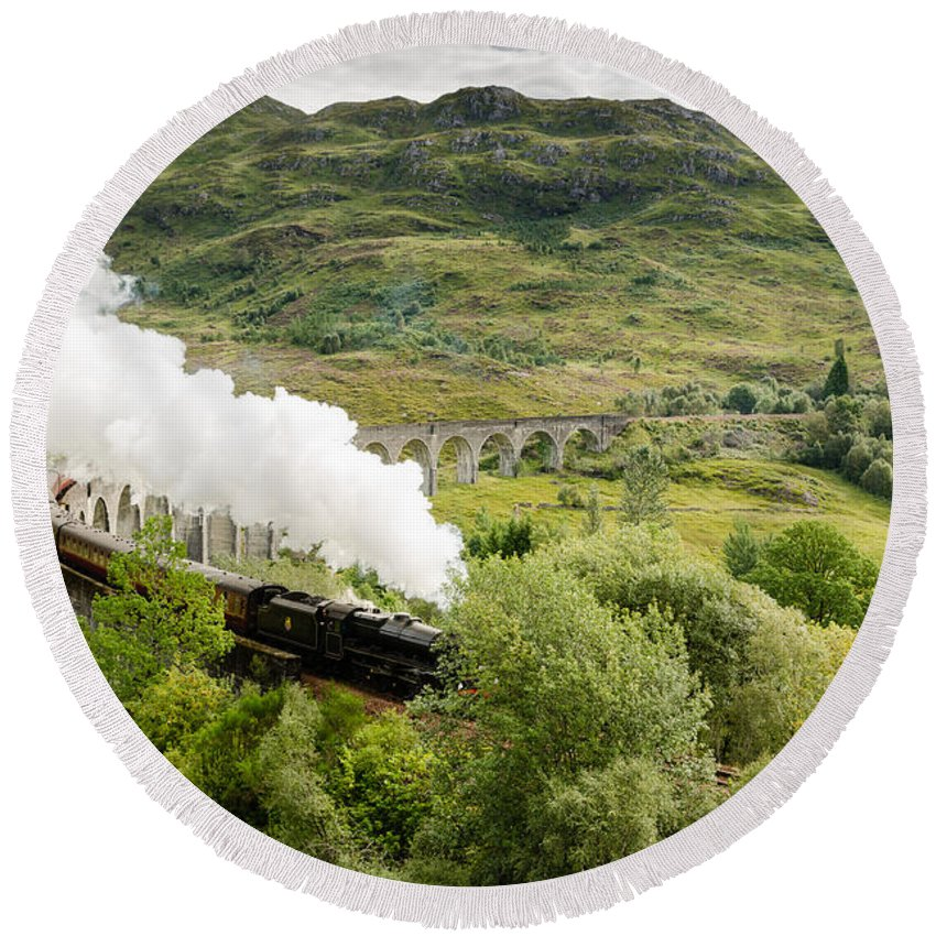 Arch Round Beach Towel featuring the photograph Steam Engine On Glenfinnan Viaduct by David Head