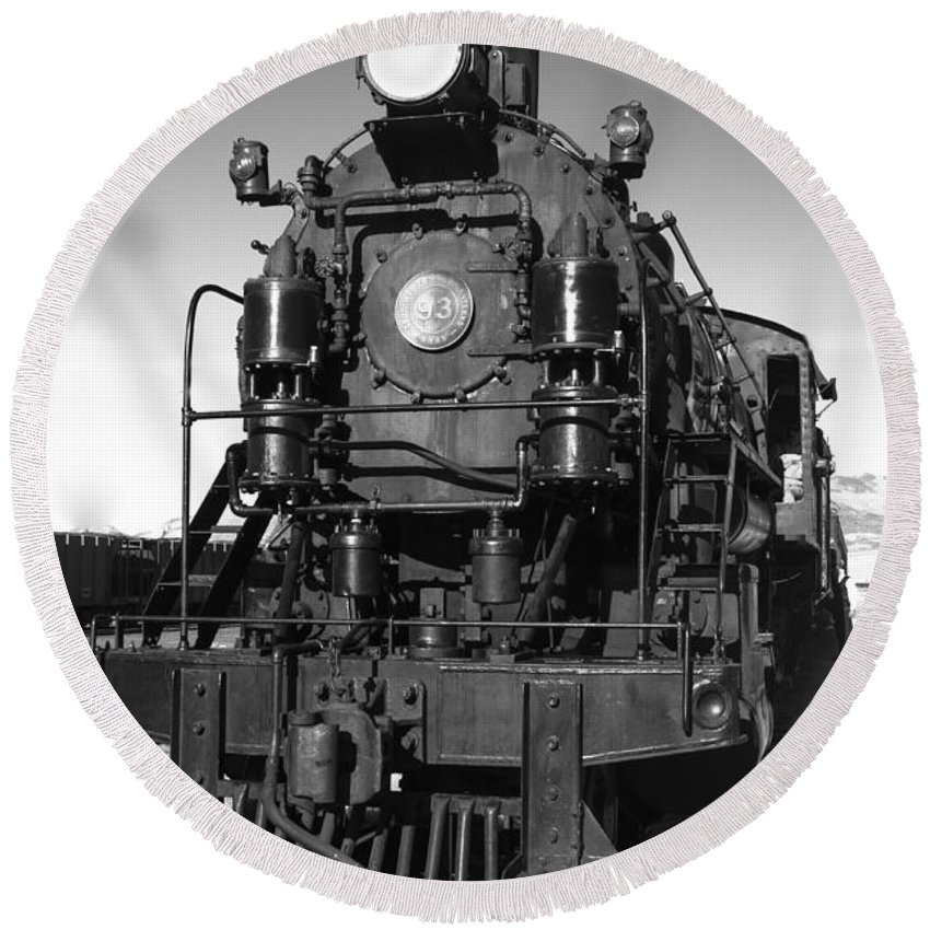 Train Round Beach Towel featuring the photograph Steam Engine by Robert Bales