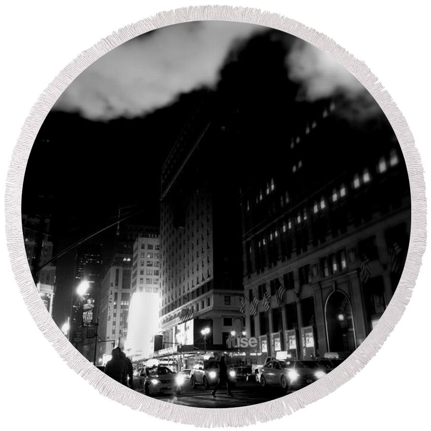 Street Photography Round Beach Towel featuring the photograph Steam Heat - New York At Night by Miriam Danar