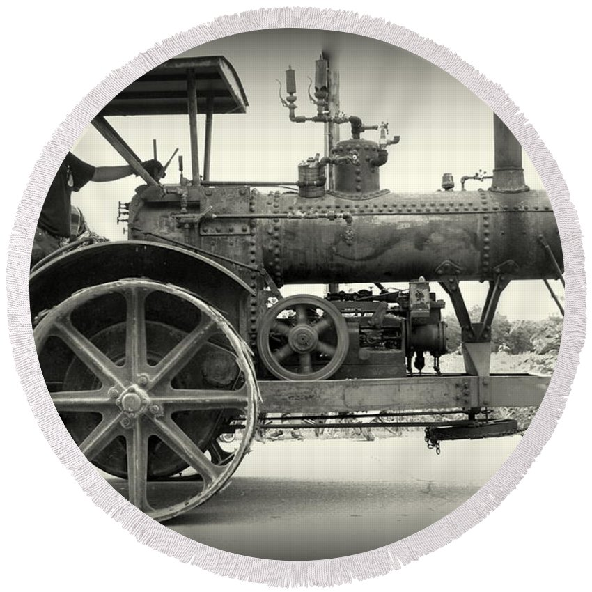 Steam Round Beach Towel featuring the photograph Steam Power Tractor by Scott Polley