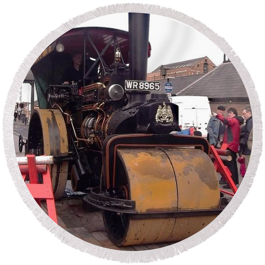 Steam Roller Round Beach Towel featuring the photograph Steam Roller by John Williams