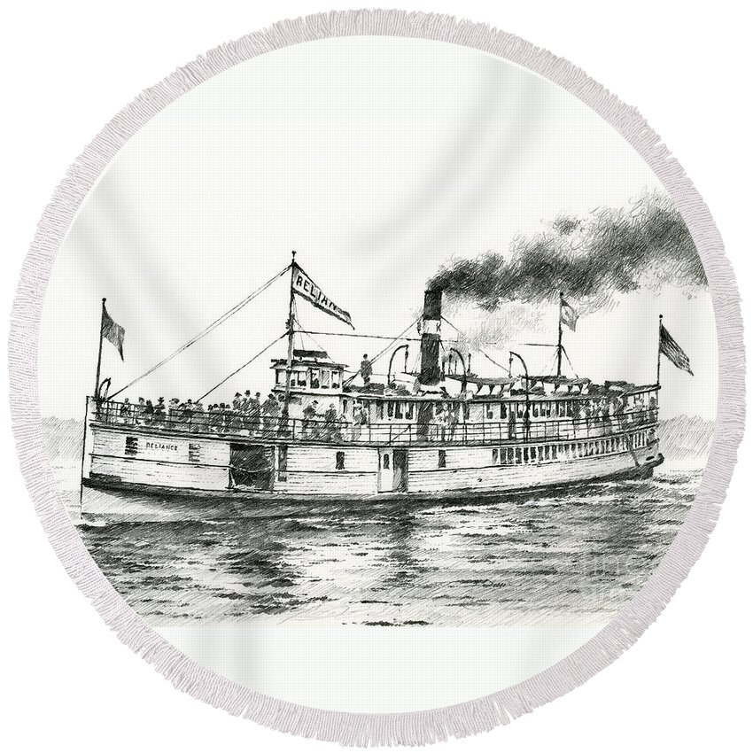 Steamboat Artwork Round Beach Towel featuring the drawing Steamboat Reliance by James Williamson