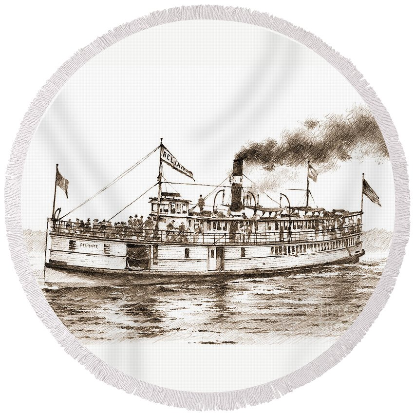 Steamboat Round Beach Towel featuring the drawing Steamboat Reliance Sepia by James Williamson