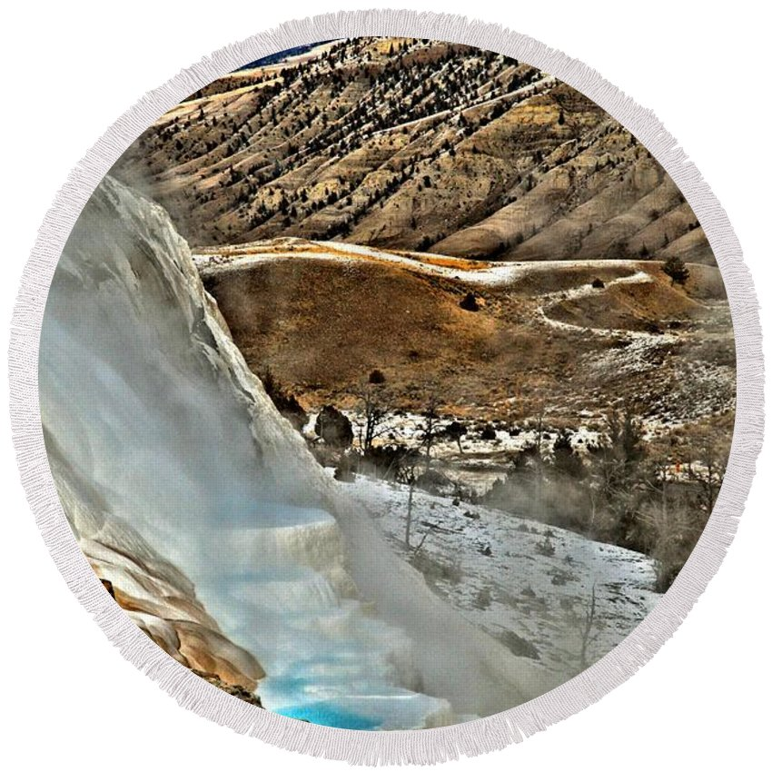 Yellowstone National Park Round Beach Towel featuring the photograph Steaming Steps by Adam Jewell