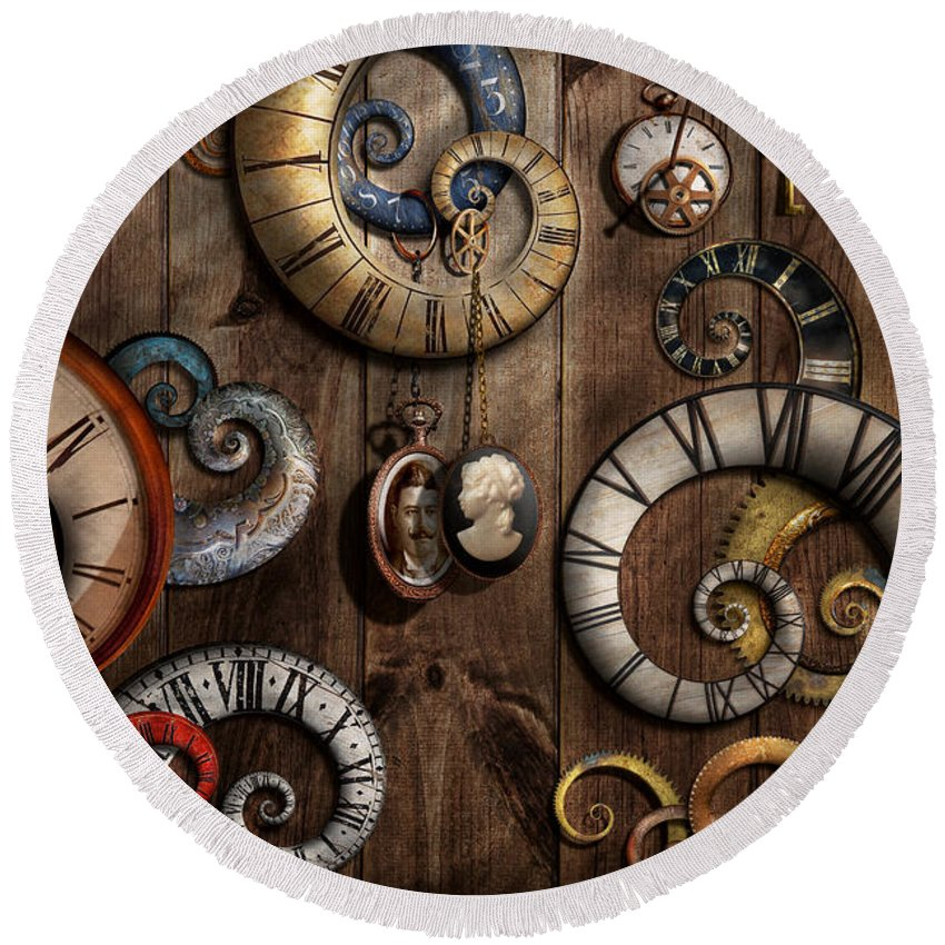 Steampunk Clock Time Machine Round Beach Towel For Sale By Mike Savad