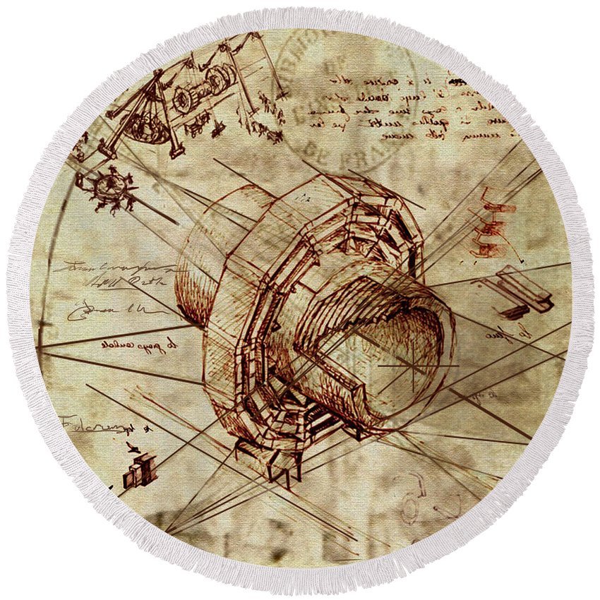 Steampunk Round Beach Towel featuring the painting Steampunk Dream Series Iv by James Christopher Hill