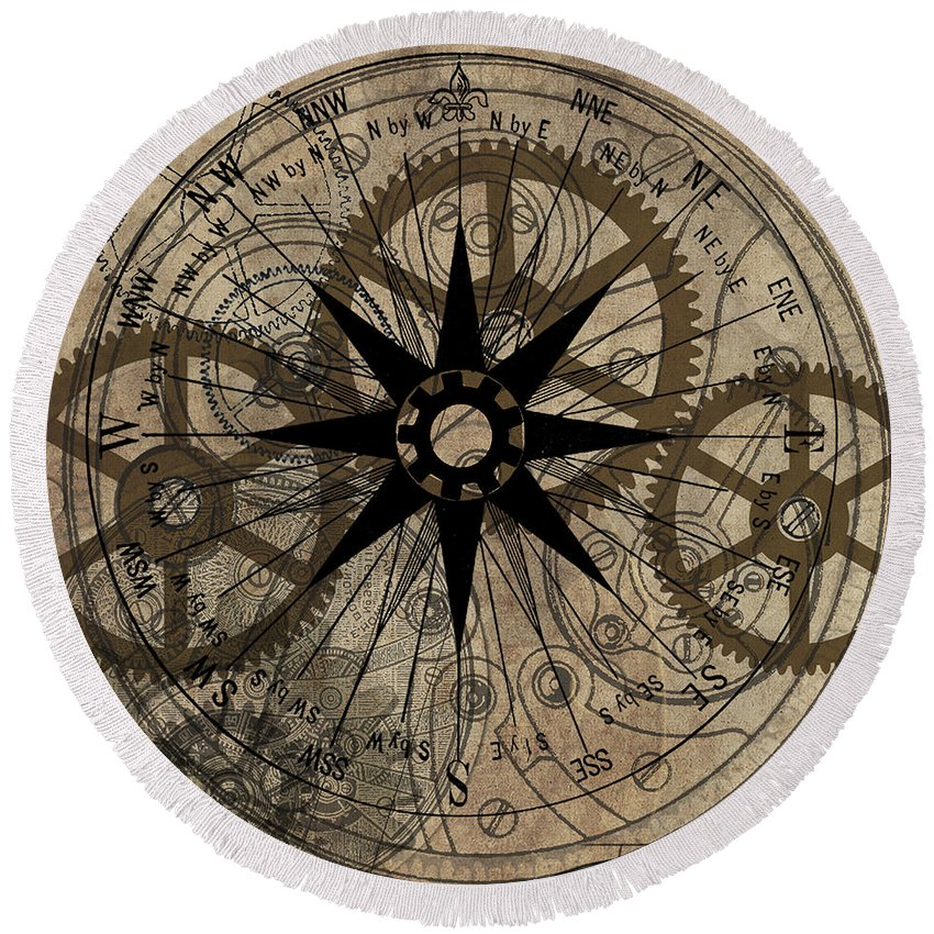 Steampunk Round Beach Towel featuring the painting Steampunk Gold Gears II by James Christopher Hill