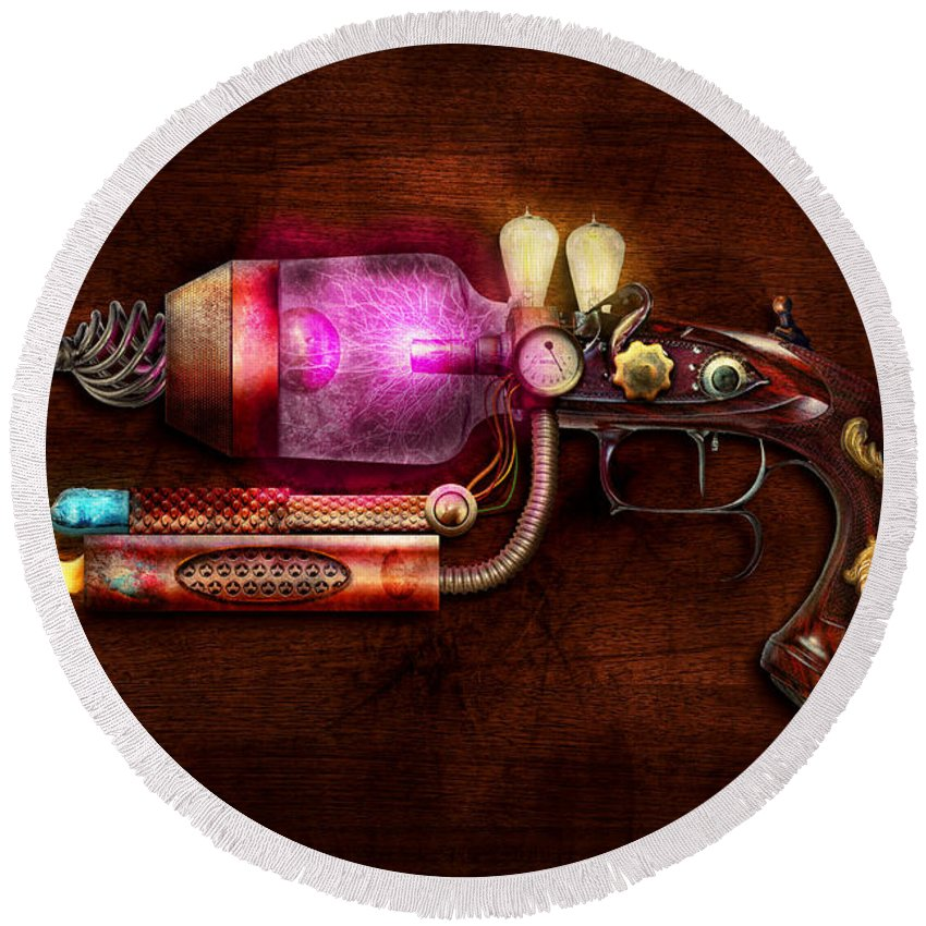 Steampunk Round Beach Towel featuring the digital art Steampunk - Gun -the Neuralizer by Mike Savad