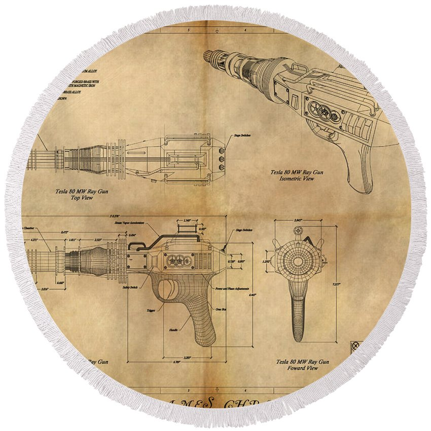 Steampunk; Gears; Housing; Cogs; Machinery; Lathe; Columns; Brass; Copper; Gold; Ratio; Rotation; Elegant; Forge; Industry; Plasma Round Beach Towel featuring the painting Steampunk Raygun by James Christopher Hill