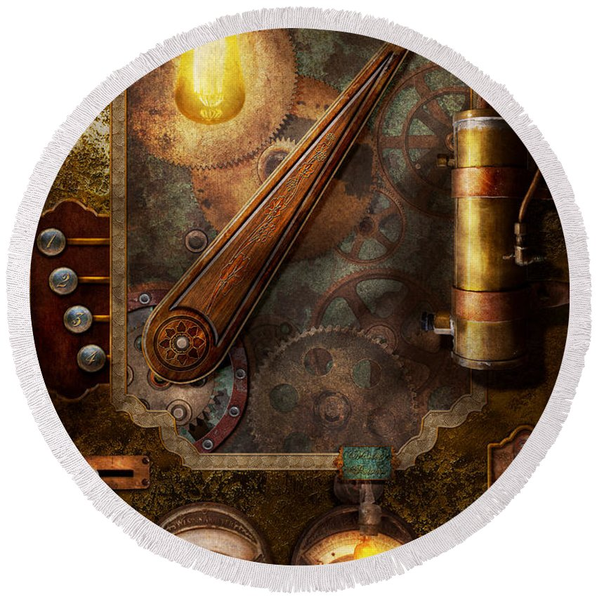 Steampunk - Victorian Fuse Box Round Beach Towel on