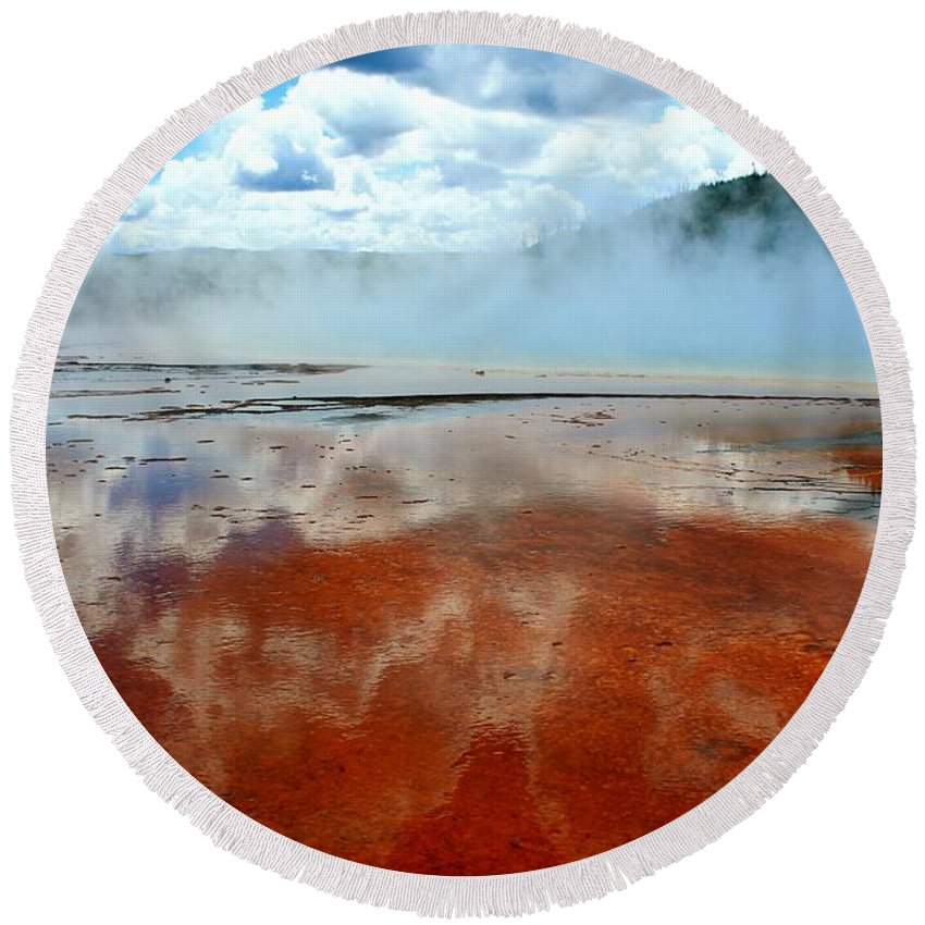 Yellowstone National Park Round Beach Towel featuring the photograph Steamy Springs by Catie Canetti