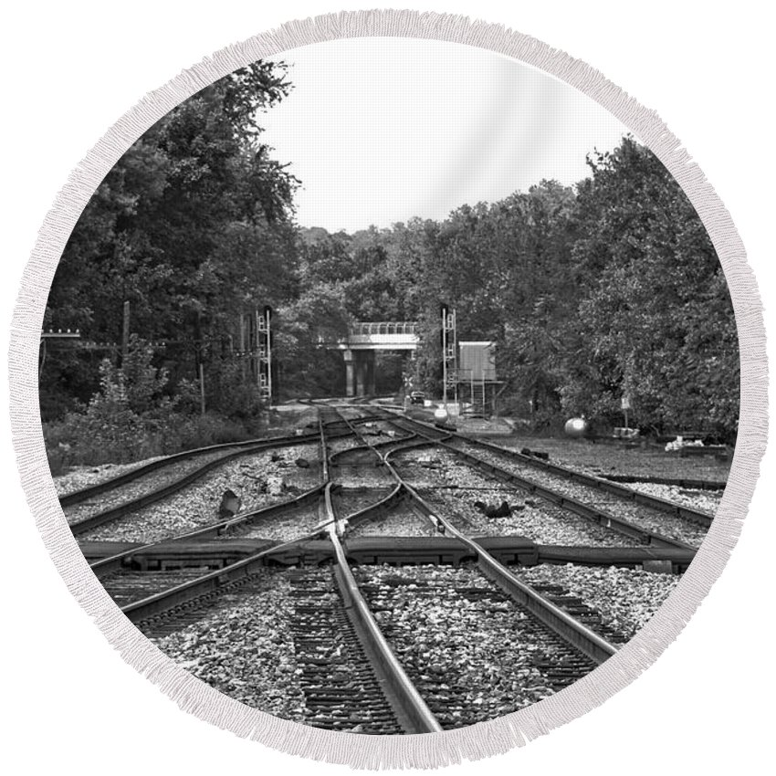 Railroad Round Beach Towel featuring the photograph Steel Rail Intersections.  Point Of Rocks Md by Thomas Marchessault