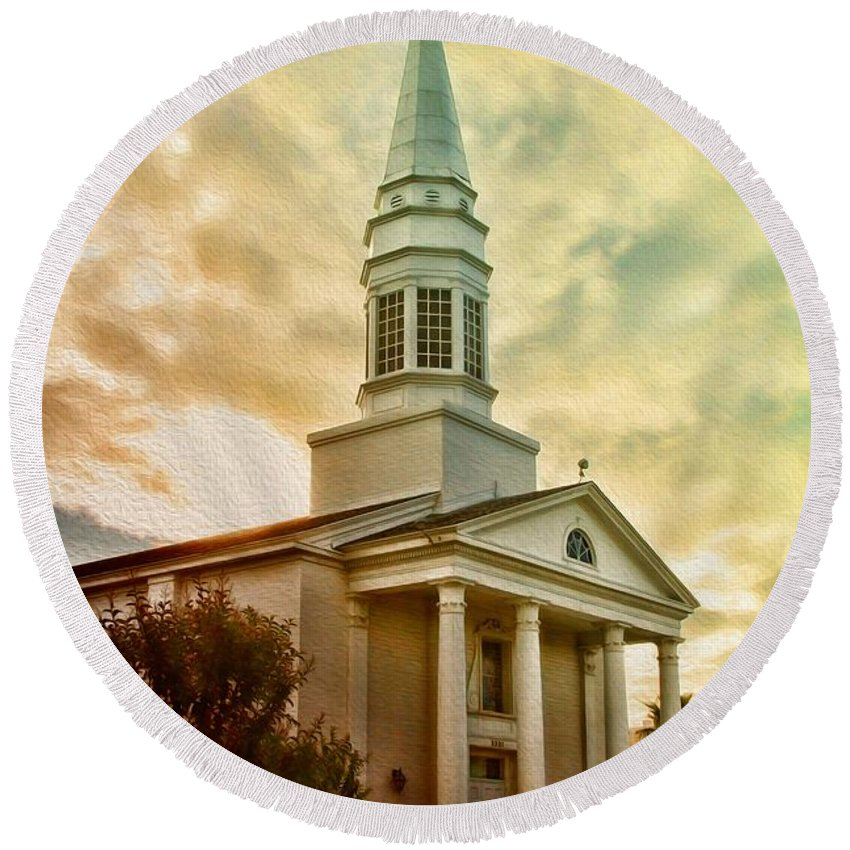 Steeple Round Beach Towel featuring the photograph Steeple In The Clouds by Deborah Benoit