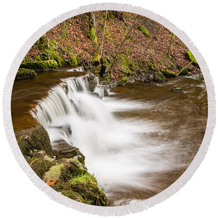 Autumn Round Beach Towel featuring the photograph Step In The Scaleber Force Waterfall by David Head