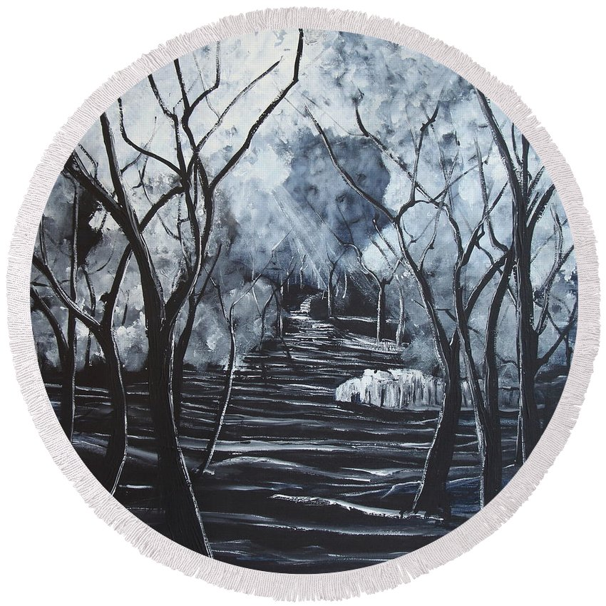 Landscape Round Beach Towel featuring the painting Step Into The Woods by Stefan Duncan