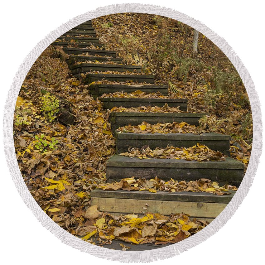 Fall Round Beach Towel featuring the photograph Step Trail In Woods 11 by John Brueske