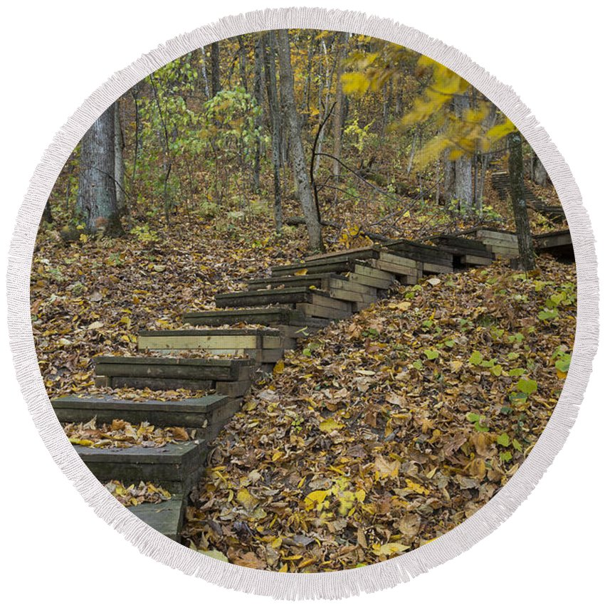 Fall Round Beach Towel featuring the photograph Step Trail In Woods 12 by John Brueske