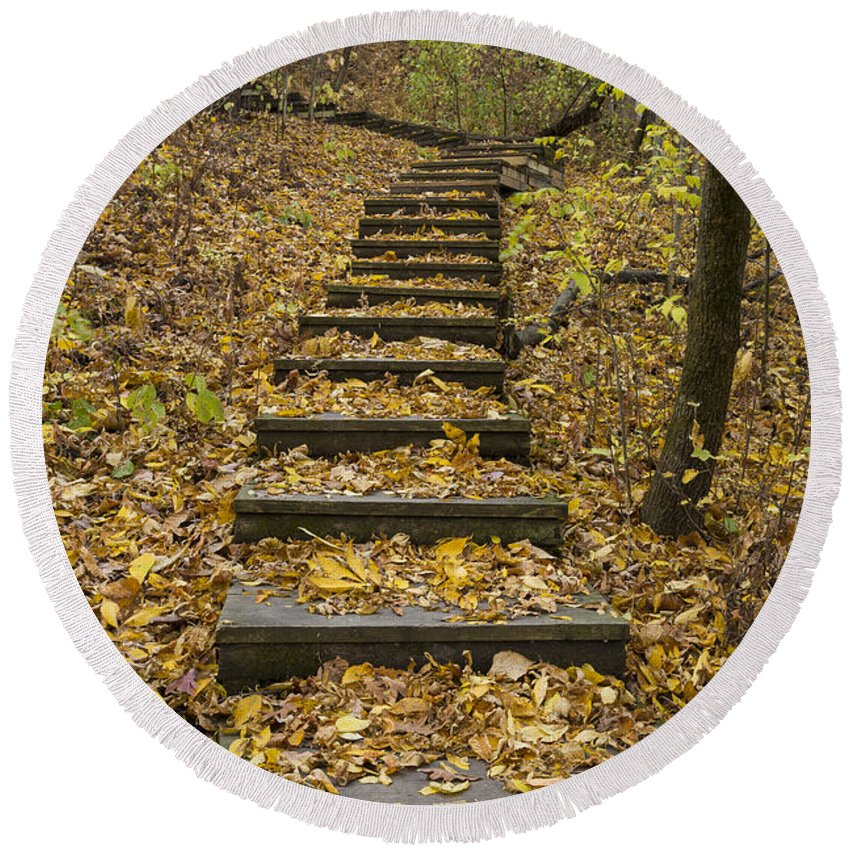 Fall Round Beach Towel featuring the photograph Step Trail In Woods 14 by John Brueske
