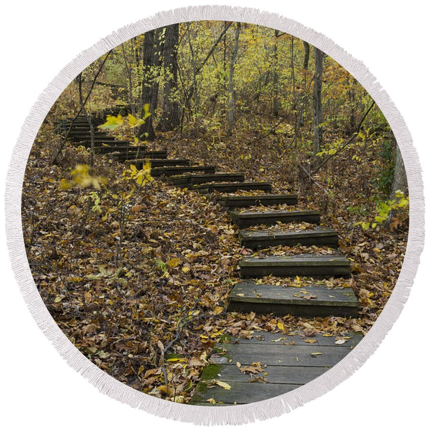 Fall Round Beach Towel featuring the photograph Step Trail In Woods 15 by John Brueske
