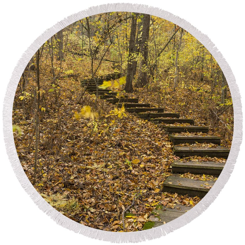 Fall Round Beach Towel featuring the photograph Step Trail In Woods 16 by John Brueske