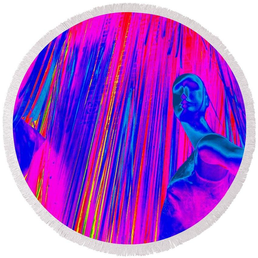 Pop Art Round Beach Towel featuring the digital art Stepping Out by Ed Weidman