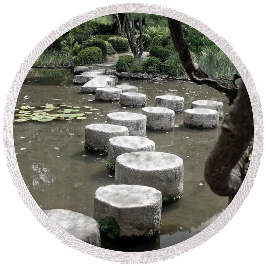 Kyoto Round Beach Towel featuring the photograph Stepping Stone Kyoto Japan by Thomas Marchessault