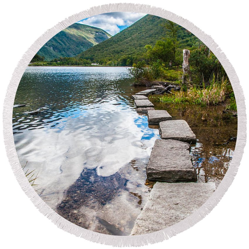 New Hampshire Round Beach Towel featuring the photograph Stepping Stones by Kristopher Schoenleber