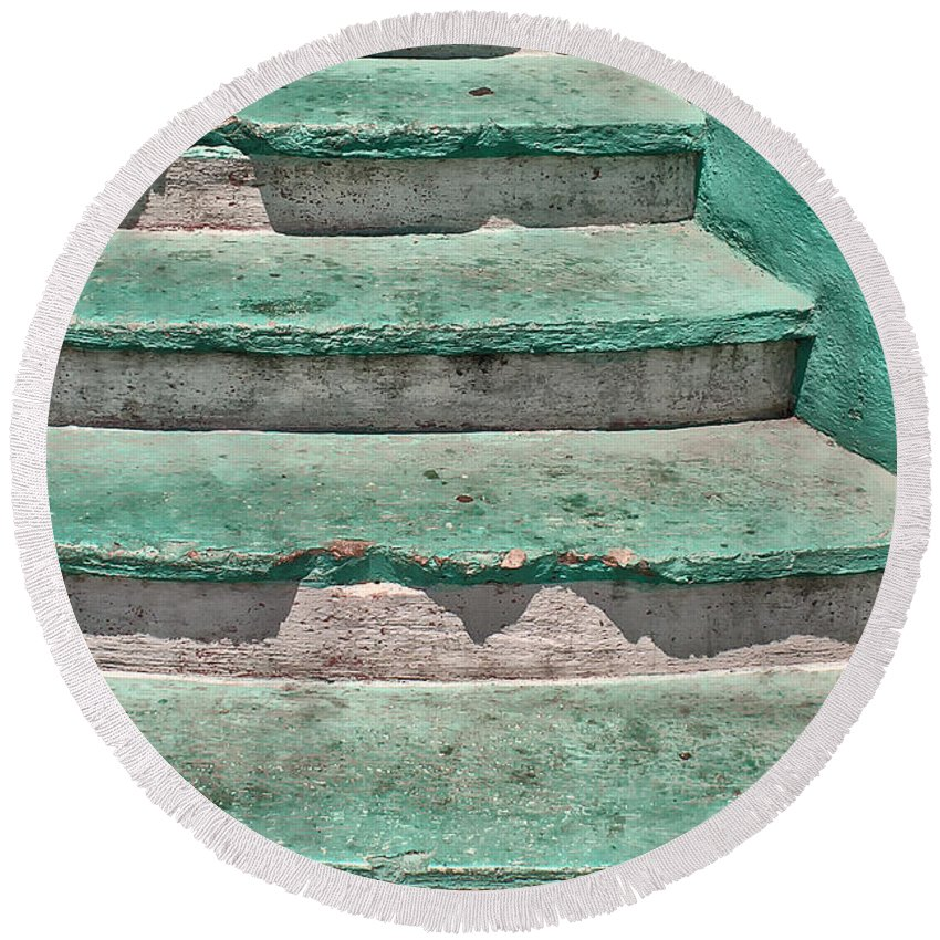Steps Round Beach Towel featuring the photograph Steps - Playa Del Carmen Mx by Stefan H Unger