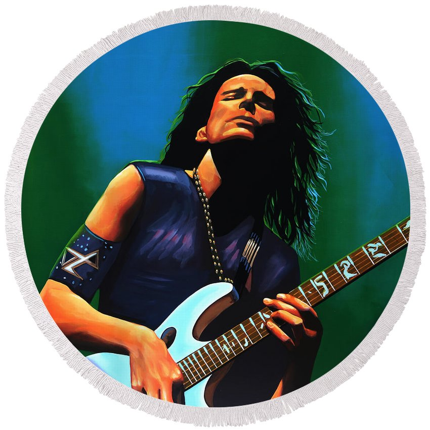 Steve Vai Round Beach Towel featuring the painting Steve Vai by Paul Meijering