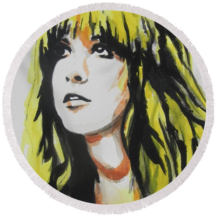 Watercolor Painting Round Beach Towel featuring the painting Stevie Nicks 01 by Chrisann Ellis