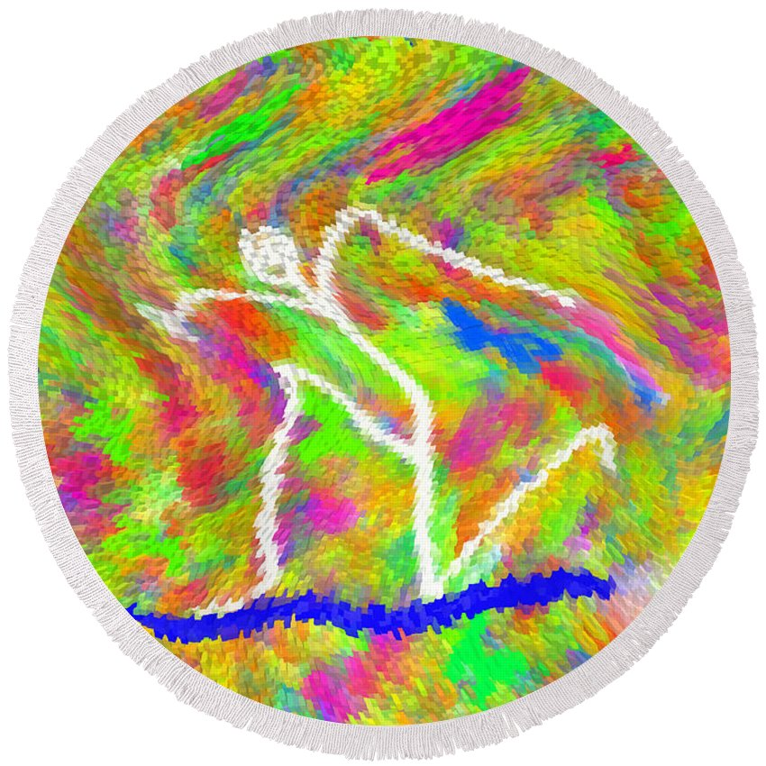 Digital_art Round Beach Towel featuring the painting Stickman Surfing The Colors by Carl Deaville