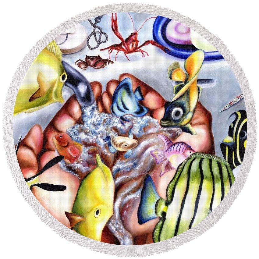 Dream Round Beach Towel featuring the painting Still Drunk by Hiroko Sakai