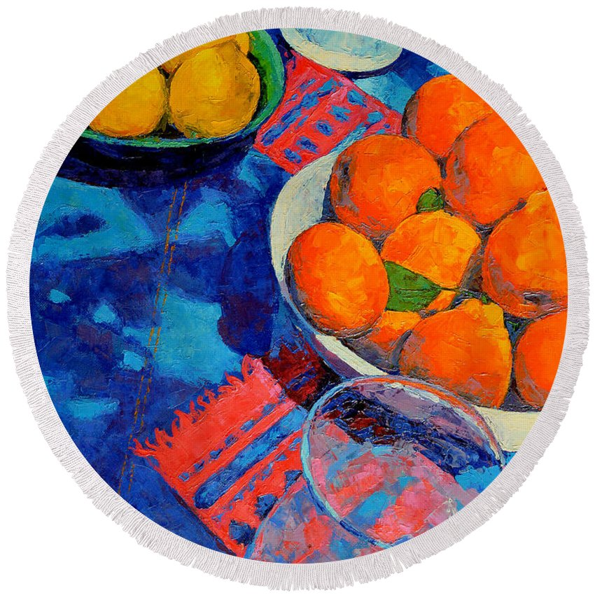 Still Life Round Beach Towel featuring the painting Still Life 2 by Iliyan Bozhanov