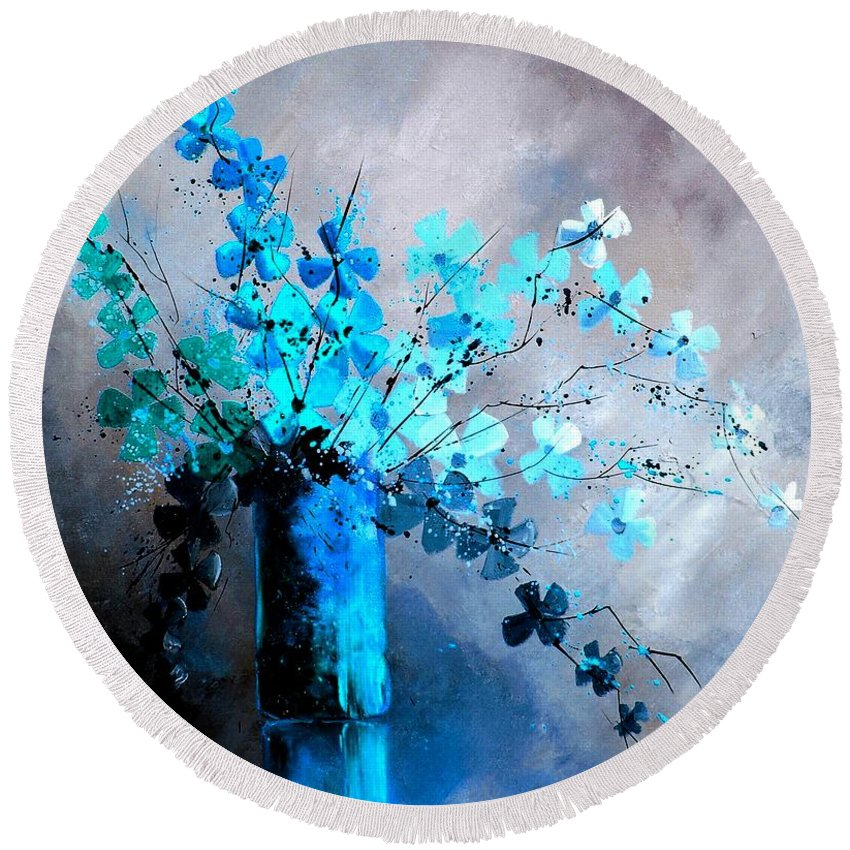 Flowers Round Beach Towel featuring the painting Still Life 678923 by Pol Ledent