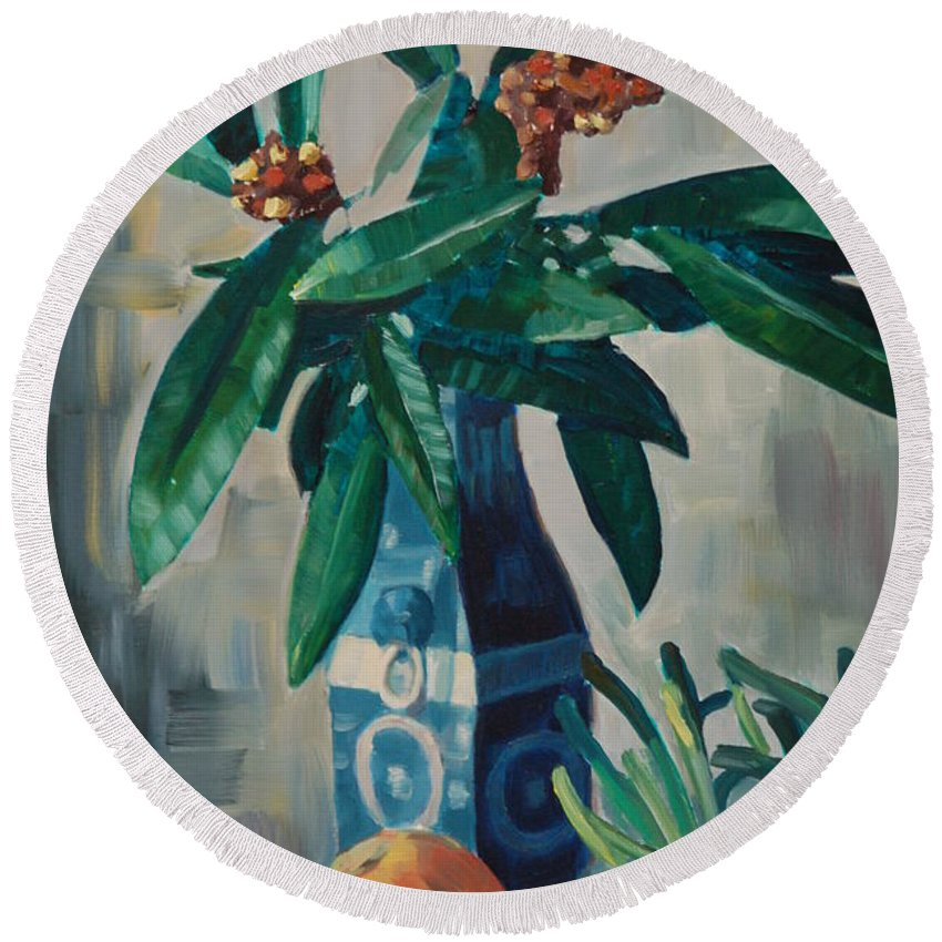 Still Round Beach Towel featuring the painting Still Life by Nicolas Nomicos