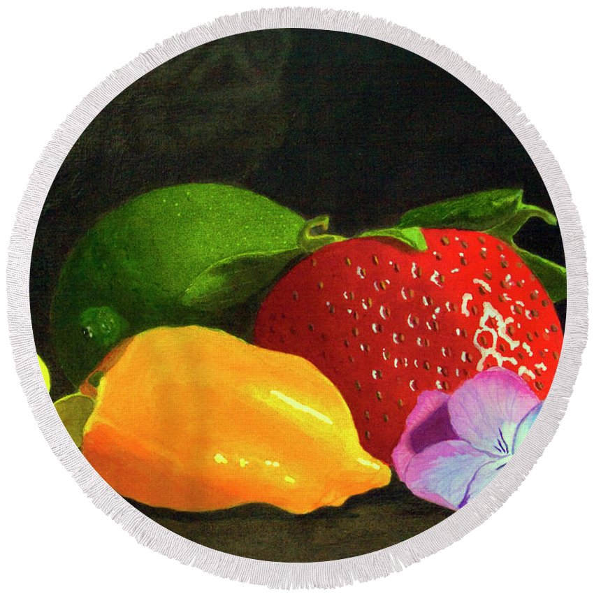 Still Life Round Beach Towel featuring the painting Still Life No. I by Mike Robles